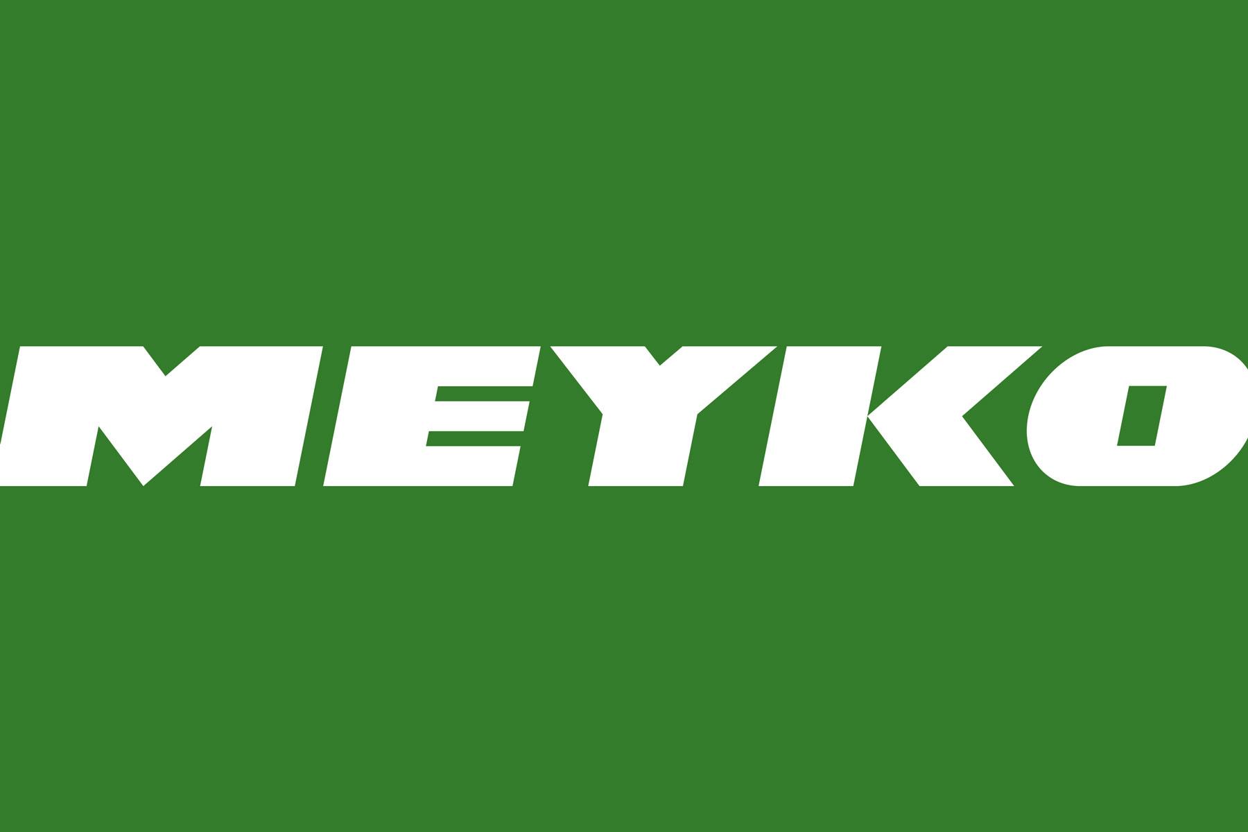 Man sieht die Wortmarke des Logos von Meyko, dem Spezialisten für Garten- und Kommunaltechnik. Das Corporate Design stammt von MAJORMAJOR.