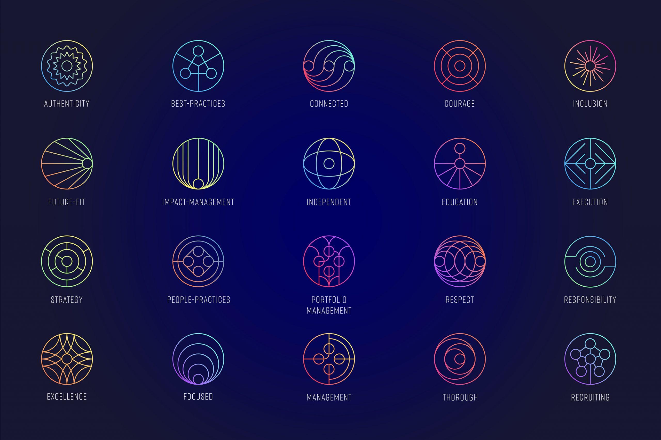 Zu sehen sind 20 Icons mit bunten Farbverläufen auf blauem Untergrund. Die Icons stehen für verschiedene Werte, die für SAGANA wichtig sind. SAGANA ist eine Impact Investment Beratung. Das Design stammt von MAJORMAJOR.