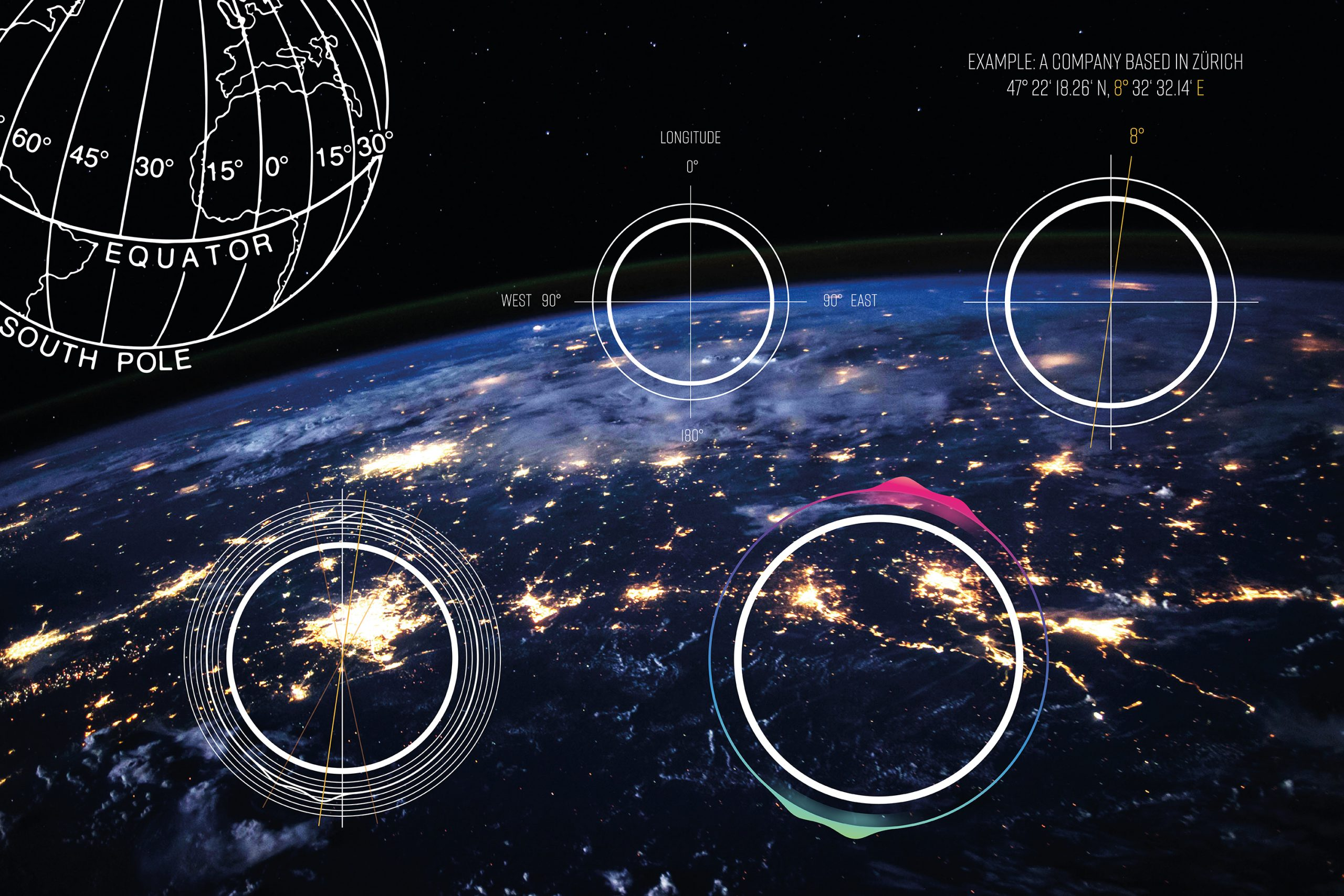 Man sieht die Welt aus dem All. Darüber verschiedene Entwürfe zum Logo von SAGANA, einer Impact Investment Beratung. Das Design kommt von MAJORMAJOR.