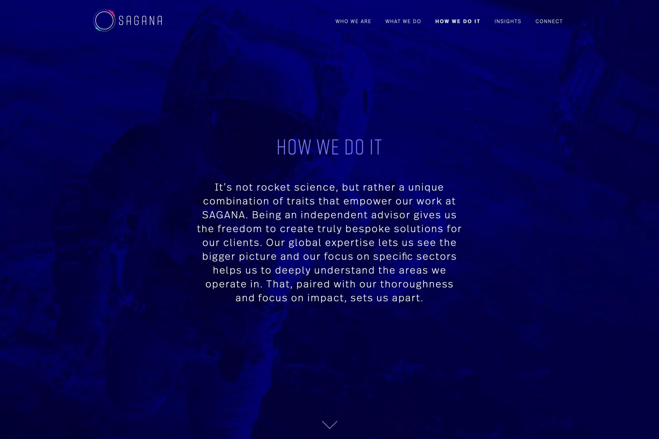 Man sieht die Website von SAGANA und den Bereich